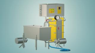 The flow-through pasteurizer milk 2 t/h UZM-2.0 R