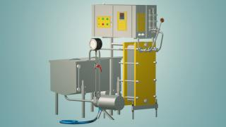 The milk pasteurizer flow of 1 t/h UZM-1.0 R
