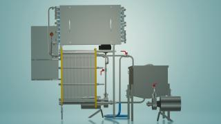 The milk pasteurizer flow of 3 t/h UZM-3.0 R